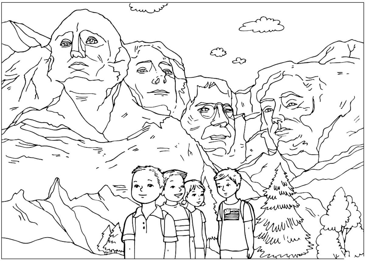 Disegni da colorare le sculture del monte rushmore - Presidenti giorno colorare le pagine da colorare ...