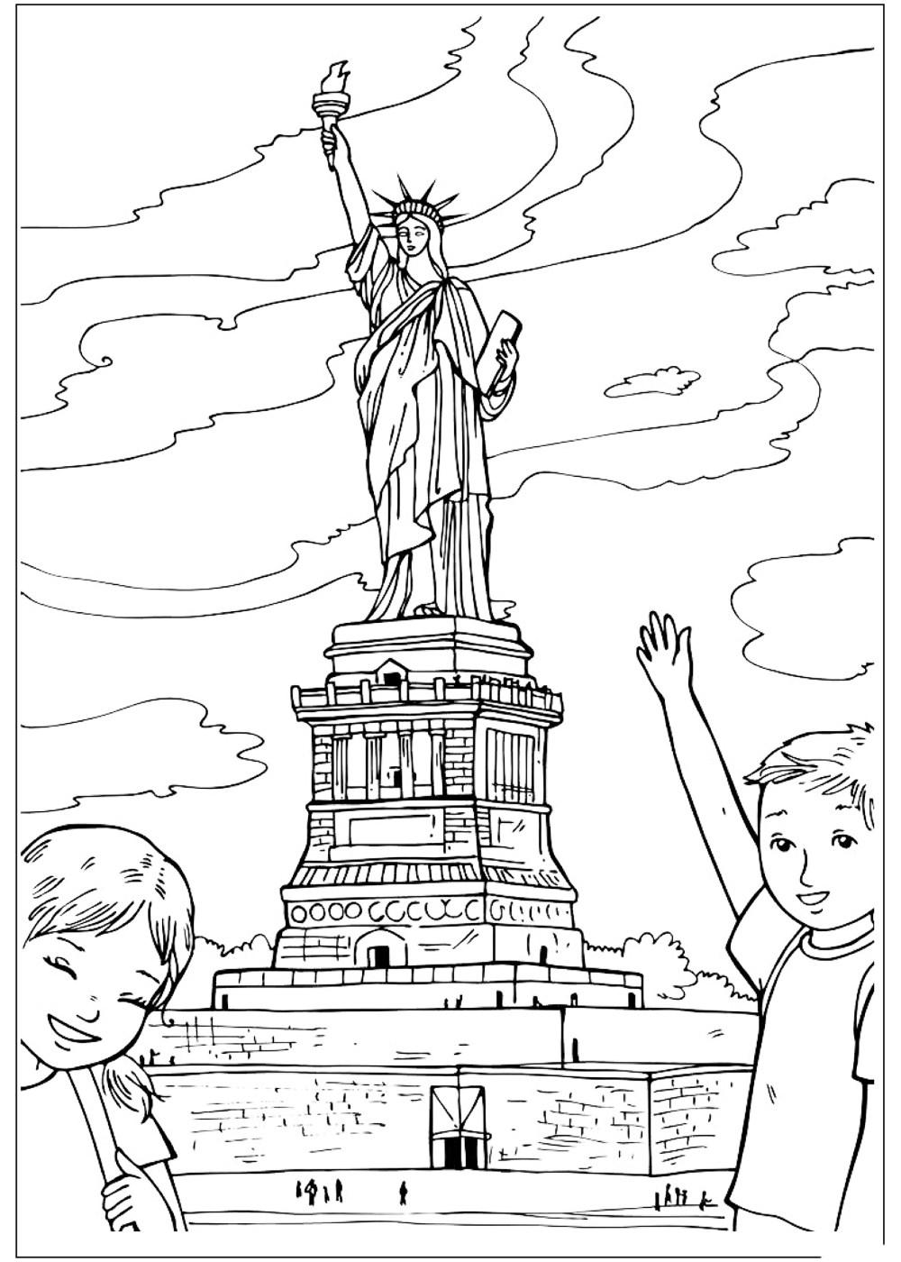 Disegni da colorare statua della libert - Carino facile colorare le pagine ...