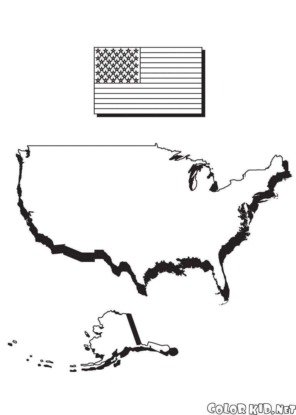 Mappa of America e bandiera