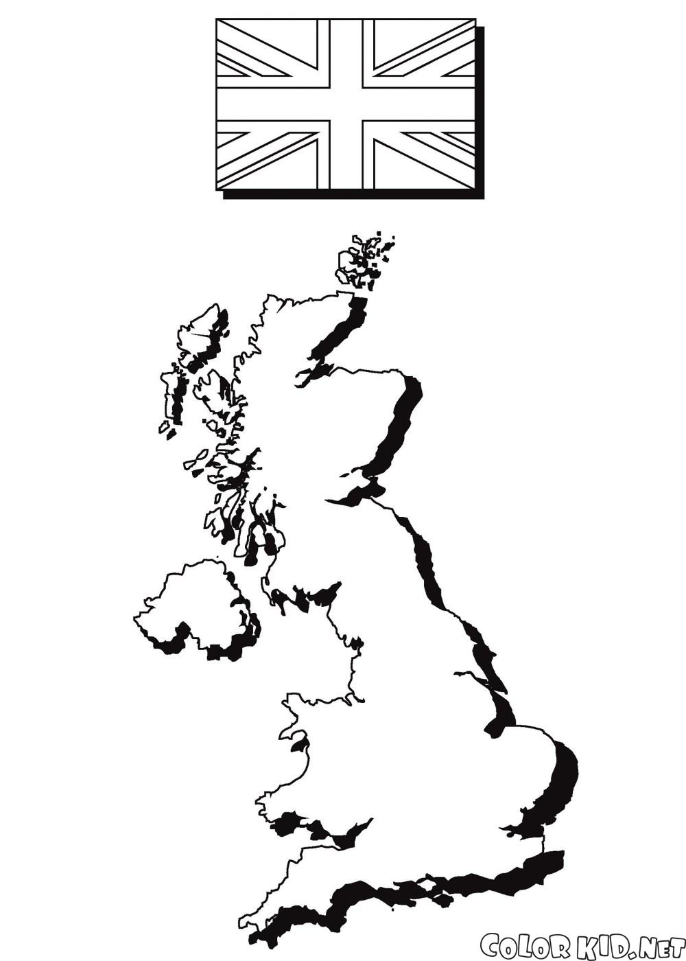 Regno Unito Cartina Da Colorare.Disegni Da Colorare La Mappa E La Bandiera Dinghilterra