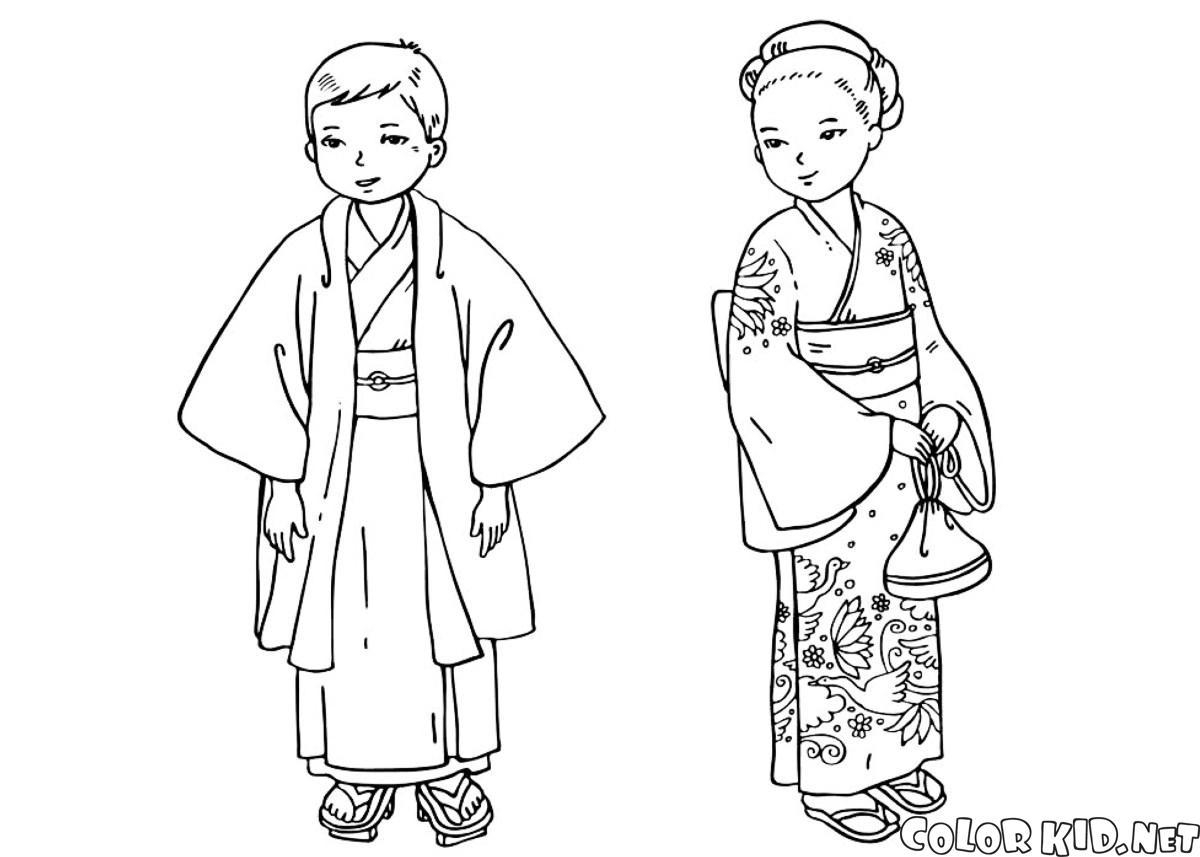 Disegni da colorare bambini in abiti tradizionali for Disegni tradizionali giapponesi